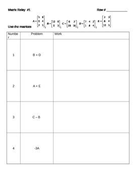 Matrix Addition and Scalar Multiplication Relay Game