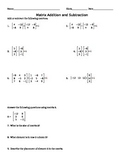 Matrix Addition and Subtraction