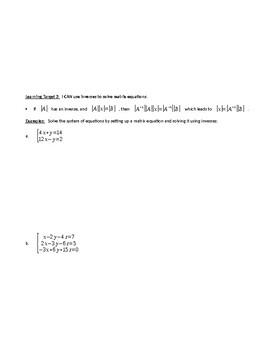 Matrix Algebra Guided Notes