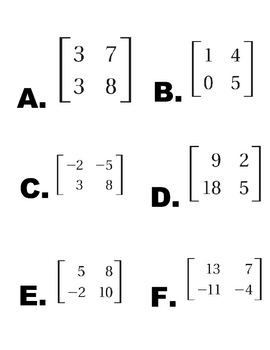 Matrix Determinant Line-Up Activity