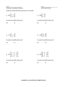 Matrix Determinants Worksheet Pack