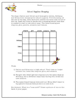 Back to School Logic Puzzle About School Supplies for Gifted and Talented