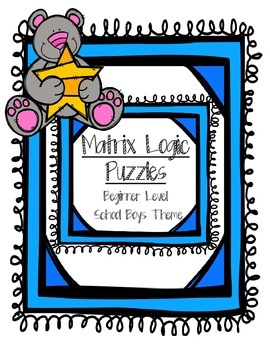 Matrix Logic Problems for Beginners - School Boys Theme