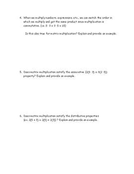 Matrix Multiplication Discovery Activity