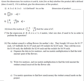 matrix multiplication worksheet  problems variables and words by  matrix multiplication worksheet  problems variables and words by holland  math