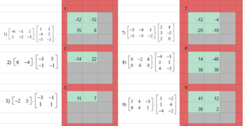Matrix Multiplication - Google Classroom - Conditional Format