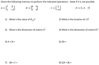 Matrix Operations Worksheet (4 versions)  Add, Subtract, Multiply, w/variables