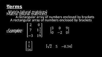 Matrix Terminology - PowerPoint Lesson (11.1)