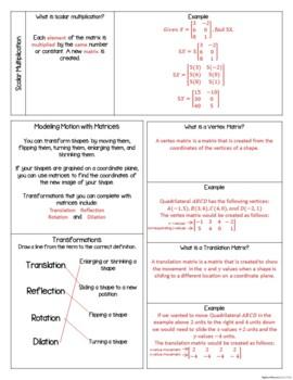Matrix (Matrices) Unit - Interactive Notebook Activities
