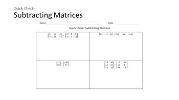 Matrix (Matrices) Unit Bundle - Interactive Notebook Activities