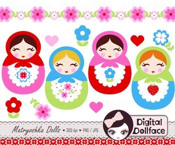 Matryoshka Doll Clip Art, Russian / Babushka Doll Clipart
