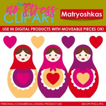 Matryoshka Dolls Clip Art (Digital Use Ok!)