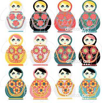 Matryoshka Dolls Clipart by Poppydreamz Russian Nesting Kukla Dolls