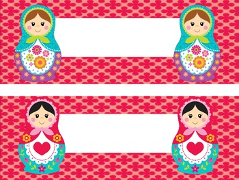 Matryoshka Russian Doll Nametag Labels