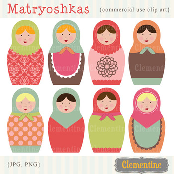 Matryoshka Russian Dolls clip art