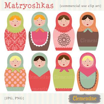 Matryoshka Russian Dolls clip art
