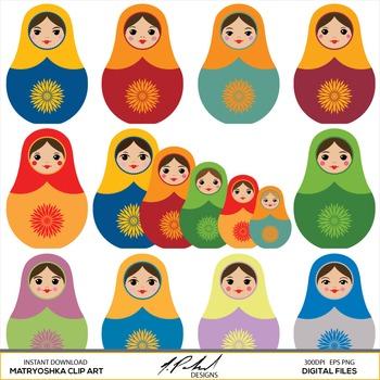 Matryoshka digital clip art - nesting dolls clipart - Russian stacking dolls