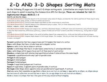 Mats for Sorting 2-D & 3-D Shapes
