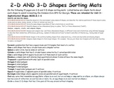 Mats for Sorting 2-D & 3-D Shapes
