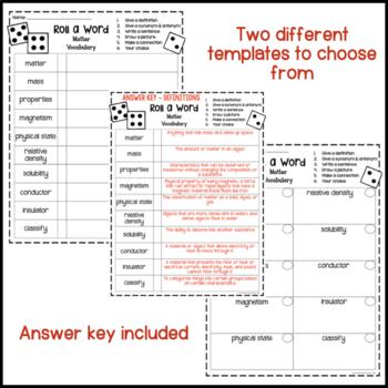 Matter Fun Interactive Vocabulary Dice Activity EDITABLE