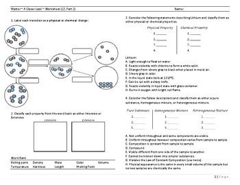 Matter ~ A Closer Look ~ Worksheet (L3, Part 2)