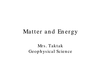 Matter and Energy Ppt