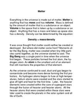 Matter, Atoms, Elements, Periodic Table Common Core Readin