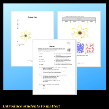 Matter: Atoms, Molecules and Phases Worksheet