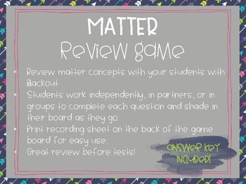 Matter Review Game