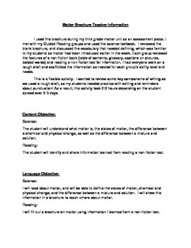 Matter Brochure Teacher Information Page