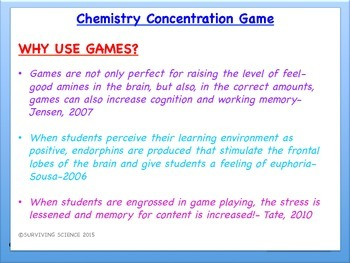 Matter Chemistry Concentration Review Game