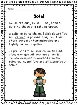 Matter (Common Core Activities, Experiments and Worksheets!!)