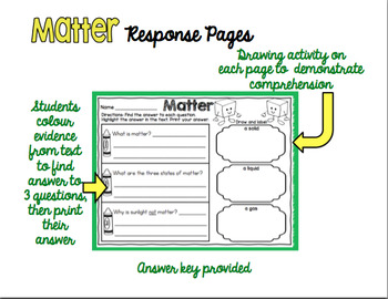 Matter Comprehension and Response Pack - Distance Education