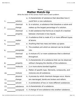 Matter Crossword and Match Up Games