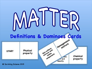 Matter Definitions and Dominoes Cards