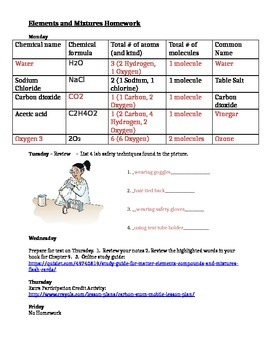 Matter, Elements and Compounds - Homework for the Week