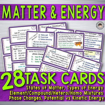 Matter Energy 28 TASK CARDS Physical Science Chemistry