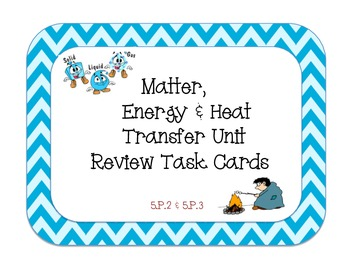 Matter, Energy, and Heat Transfer Review Task Cards - 5.P.