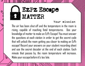 Matter Science Escape Room