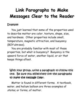 Matter Essay mini-lessons