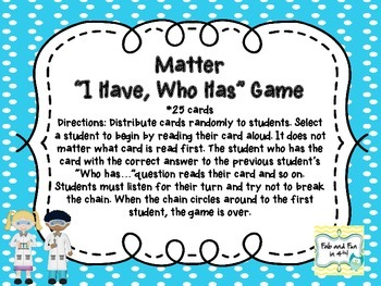 """States of Matter """"I Have, Who Has"""" Game"""