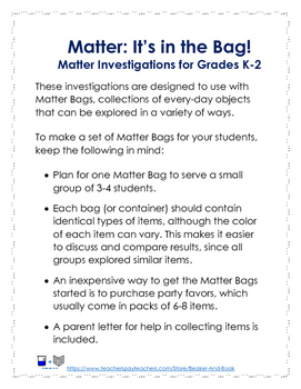 Matter: It's in the Bag! Matter Investigations for Grades K-2