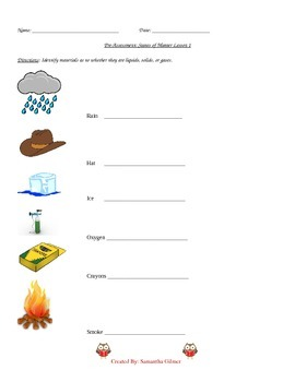 Matter Lesson Plan with Handouts
