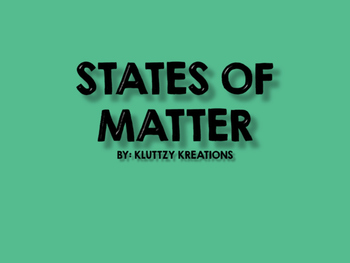Matter Lesson Plans  (3 Days)