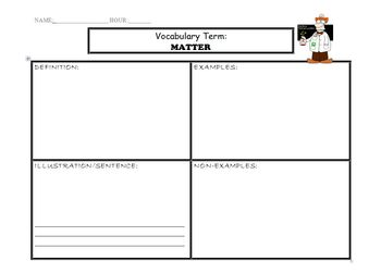Matter, Mass, Volume, Density Vocabulary Graphic Organizers