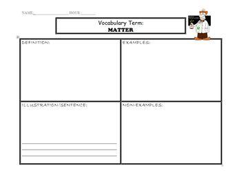 Matter, Mass, Volume, Density Vocabulary Graphic Organizers