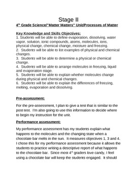"""""""Matter Matters""""  4th Grade Science Unit on Processes of Matter"""