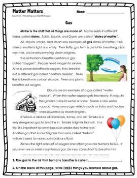 Matter Matters - GAS - Science // States of Matter // Reading Comprehension