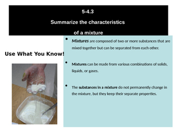 Matter, Mixtures and Solutions