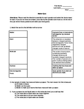 Matter (Molecules, Compounds & Atoms)- Assessment or Activity sheet w/Answer Key